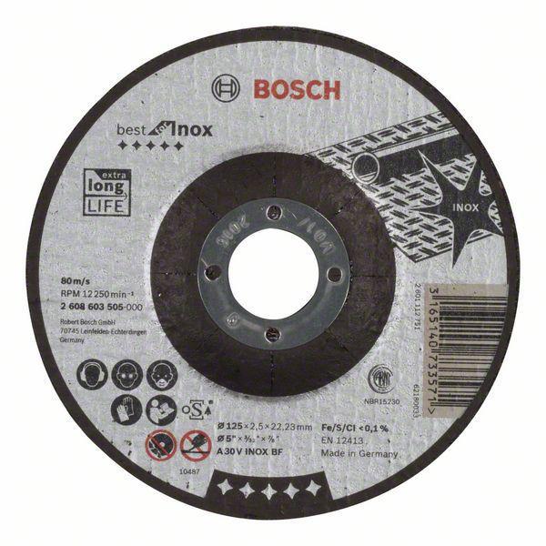 Отрезной круг Bosch Best по нержавейке 125x2,5, вогнутый, 2608603505