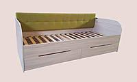 """Кровать односпальная с мягкой спинкой и ящиками   """" Л-7 """" (2000х900)"""