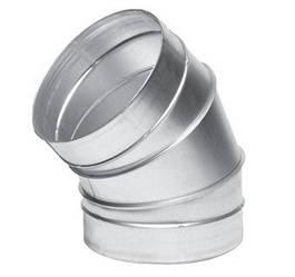 Отвод оцинкованный для воздуховодов 45°