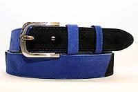 Замшевый ремень на джинсы и брюки мужской женский 40 мм комбинированный - чёрный/синий(нубук) пряжка матовая