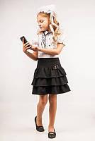 Юбка школьная с оборками для девочки, размеры 28, 30, 32, 34. (Ю-72)Наличие размера уточняйте!