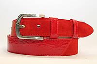 Замшевый ремень на джинсы и брюки мужской женский 40 мм комбинированный цвет красный лак/красный замш