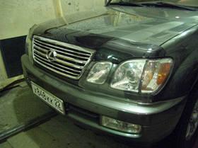 """Дефлектор капота Lexus LX-470 2002-2007 """"SIM"""" темный/надпись"""