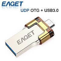 Флешка EAGET 16 Gb, microUSB(OTG)-USB 3.0, Металл