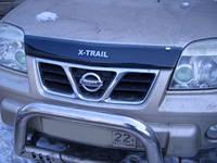 "Дефлектор капота Nissan X-Trail Т30 2001-2006 ""SIM"" темный/надпись"