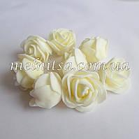 Роза из латекса, кремовая,   2,5-3 см