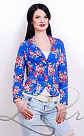 Коттоновый женский пиджак с цветочным принтом 1018