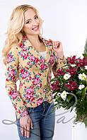 Красивый женский пиджак с рукавом 3\4 Джинс-Лилия 1018