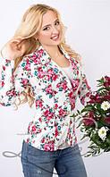 Женский пиджак с цветочным принтом белого цвета 1018