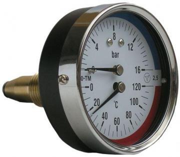Термоманометр аксиальній (осьовий) з повіркою 4,6,10 bar / 120 C Україна