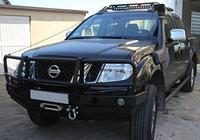 Бампер передний для Nissan Navara D40 с монтажной плитой под лебедку и с кенгурятником