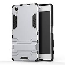 Чехол накладка силиконовый Armor Shield для Sony Xperia X F5122 серебро