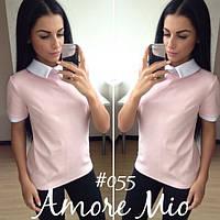 Кофта женская розовая с воротничком АМ/-055