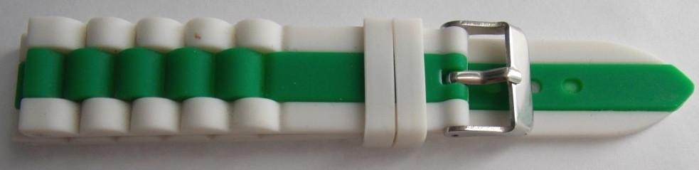 Ремешок каучук Рельефный (Польша) 20 мм. Белый-зеленый