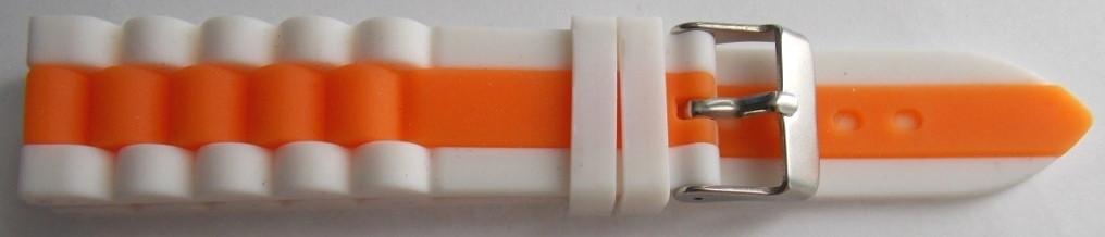 Ремешок каучук Рельефный (Польша) 20 мм. Белый-оранжевый