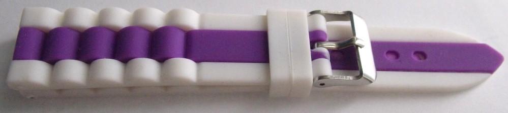 Ремешок каучук Рельефный (Польша) 20 мм. Белый-фиолетовый
