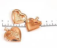 Медальон позолоченный форма сердца Рыбы