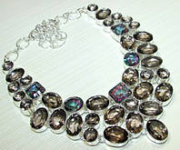 Шикарное Колье, ожерелье из Дымчатого Кварца и Мистик-Топазов