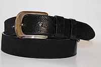 Замшевый ремень на джинсы и брюки мужской женский 40 мм цвет чёрный замш/чёрный лак (змея)