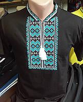 Мужская чёрная  вышиванка на короткий рукав