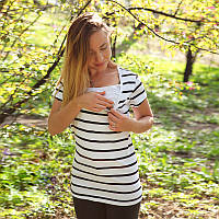 Футболка для беременных и кормящих - Полоска с удобным секретом, для доступа к груди