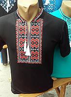 Мужская вышиванка на короткий рукав с крассной вышивкой