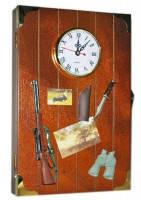 Часы ключница охота циферблат деревянные бархат