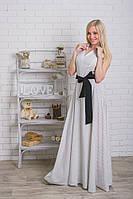 Длинное летнее женское платье горох белое