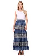 Длинная летняя юбка из тонкого джинса