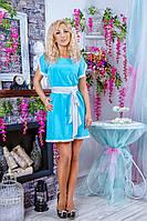 Стильное платье с пояском и коротким рукавом