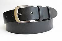 Ремень кожаный класический 40 мм чёрный гладкий пряжка матовая