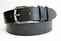 Ремень кожаный класический 40 мм чёрный гладкий пряжка матовая/чернёная