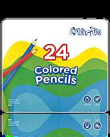"""Карандаши цветные длинные """"MARCO"""" Colorite в металлическом пенале(24 цвета)"""
