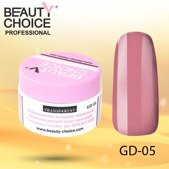 Моделирующий прозрачный ярко-красный гель, Beauty Choice, GD-05, 14 мл