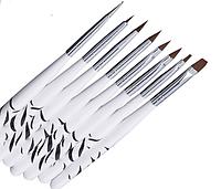 Набор кистей для дизайна и рисования на ногтях Зебра,8 шт