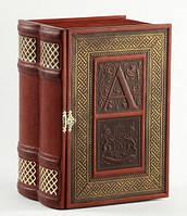 Книга-бар малий з кришталевим графином (натуральна шкіра), фото 1
