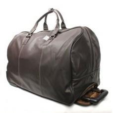Большая дорожная сумка с колёсиками из кожи