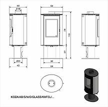 Печь камин KRATKI Koza AB/S/N/O Glass вращающаяся с белыми кафельными панелями, фото 2