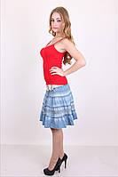 Короткая молодежная юбка из летнего джинса