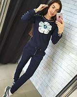 Женский летний костюм с жемчугом синий DB-1200