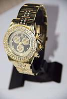 Женские кварцевые часы Rolex Gold в камнях с металлическим ремешком
