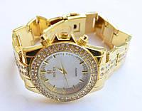 Женские кварцевые часы Rolex Gold в камнях белые