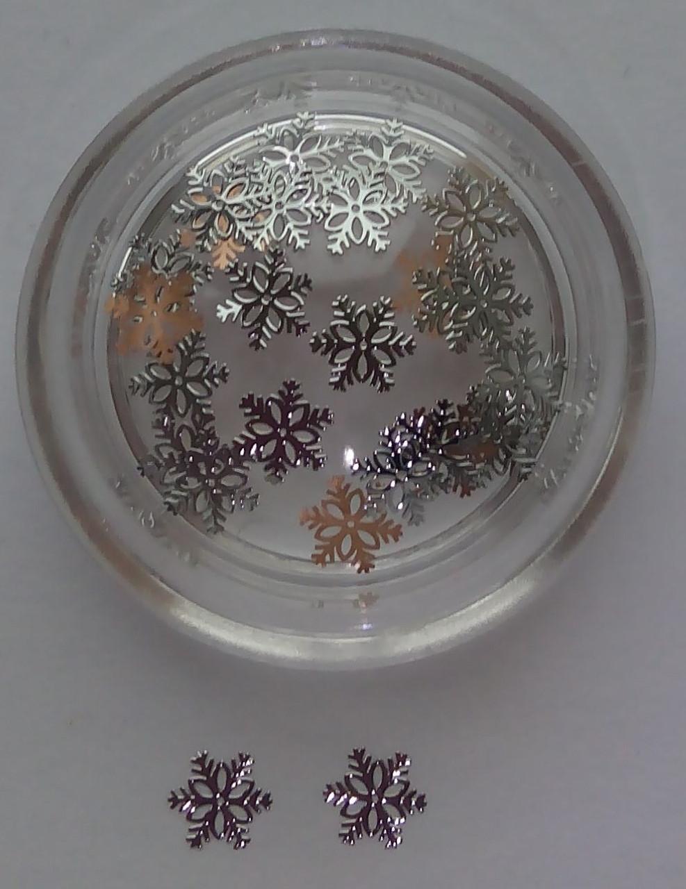 Снежинки,  металлические логотипы снежинки (серебро)