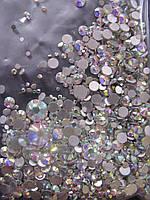 Стекло стразы, микс размеров, 1000 шт, белые, прозрачные, кристалл