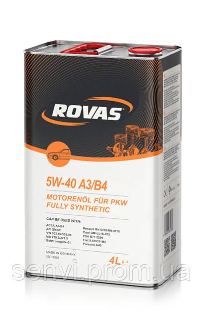 Моторное синтетическое масло Rovas 5W-40 A3/B4 (4л)/ для бензиновых и дизельных двигателей легковых авто