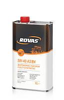 Моторное синтетическое масло Rovas 5W-40 A3/B4 (1л) для легковых автомобилей