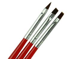 Набор кистей для геля и моделирования на ногтях, 3 шт
