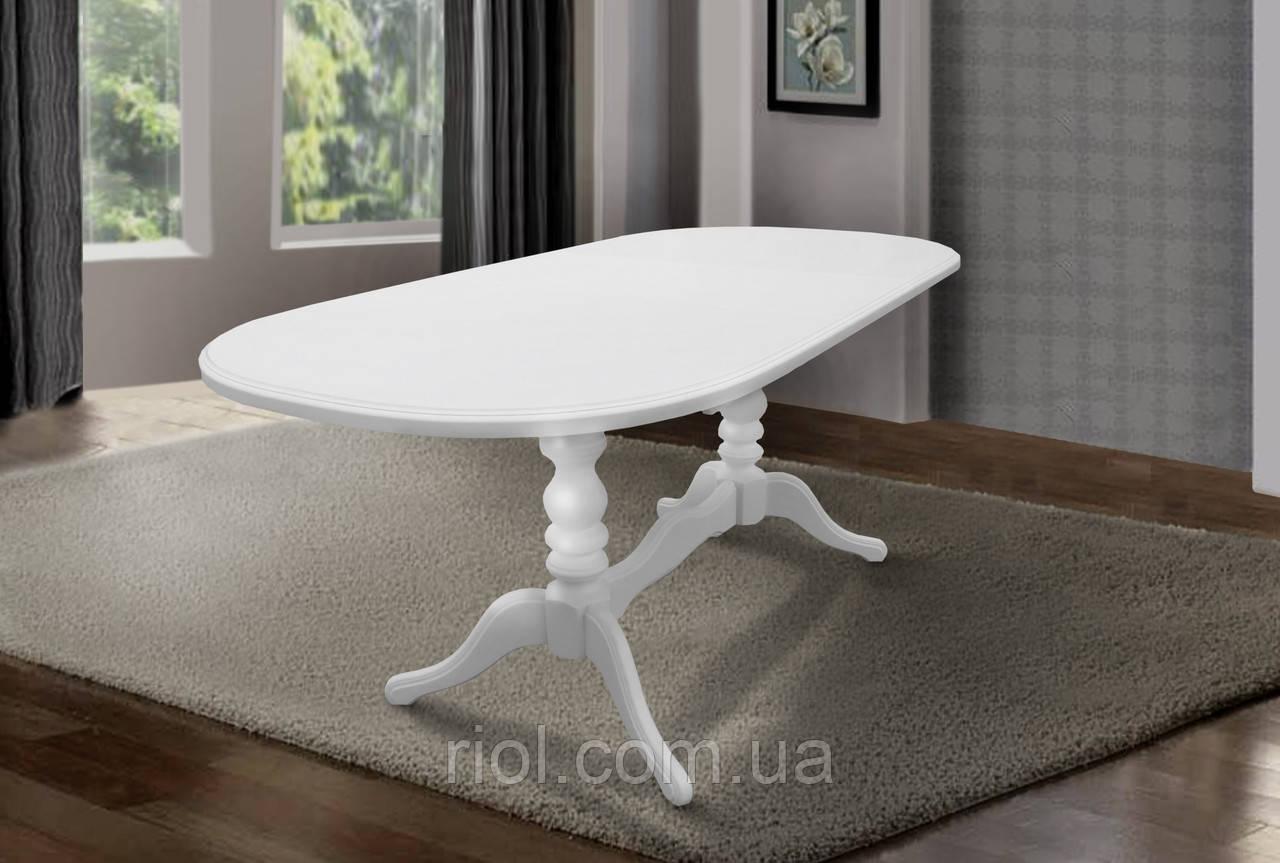 Стол обеденный Вавилон деревянный раскладной (белый)