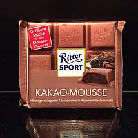 Молочный шоколад с муссом какао в гармоничном сочетании с оттенками меда и карамели Ritter Sport Kakao-Mousse