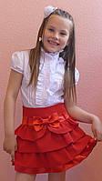 """Школьная юбка, юбка для девочек  """"Оборочка""""красный, фото 1"""